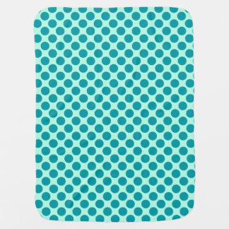 Large retro dots - aqua and turquoise baby blanket