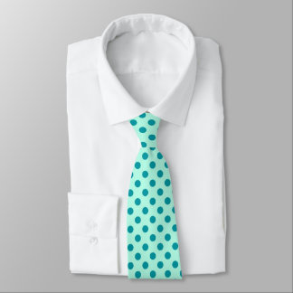 Large retro dots - aqua and turquoise tie