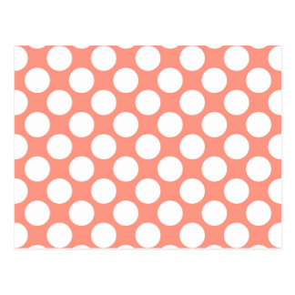 Large retro dots - coral pink and white postcard