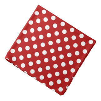 Large retro dots - red and white bandana
