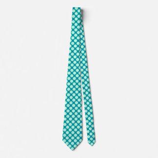Large retro dots - turquoise and aqua tie