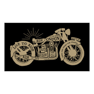 Large Retro Live To Ride Vintage Motorcycle Poster