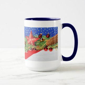 Large Ringertasse blue glad Christmas Mug