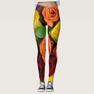 Large Roses in Fall Colors - Leggings