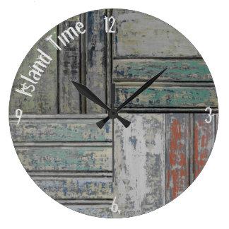 Large Round Chippy Coastal Clock