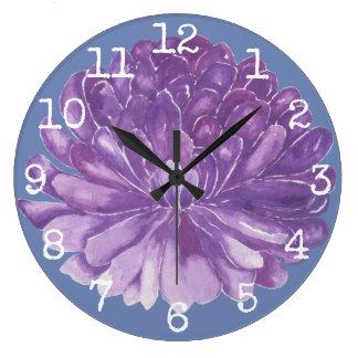 "Large Round Clock ""Lavender Flower"""