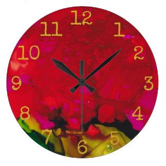 "Large Round Clock ""Red Gold Design"""