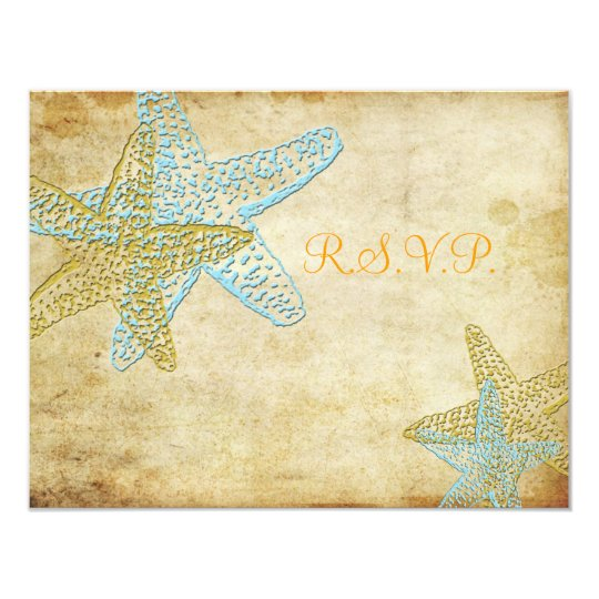 LARGE RSVP, VINTAGE BLUE STARFISH CARD