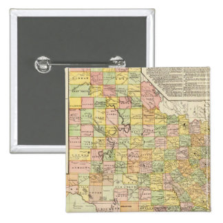 Large Scale County and Railroad Map Of Texas 15 Cm Square Badge