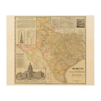 Large Scale County and Railroad Map Of Texas Wood Wall Decor