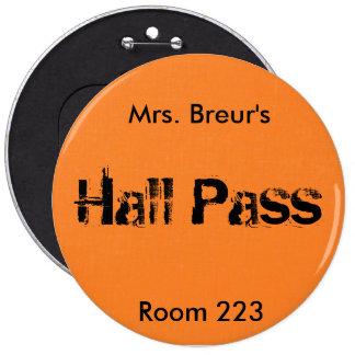 Large School Hall Pass Button - Orange