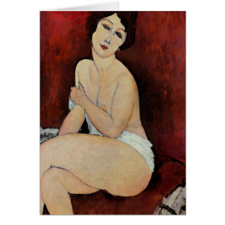 Large Seated Nude (oil on canvas) Greeting Card