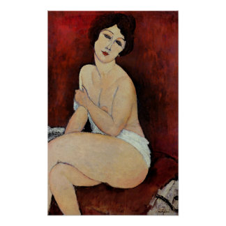 Large Seated Nude (oil on canvas) Poster
