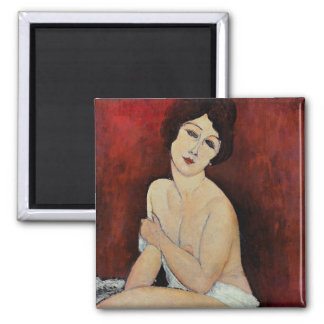 Large Seated Nude (oil on canvas) Square Magnet