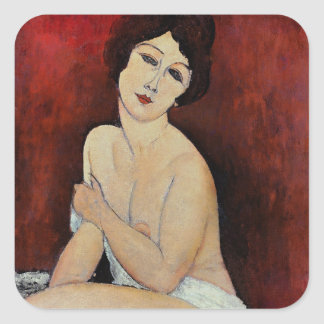 Large Seated Nude (oil on canvas) Square Sticker