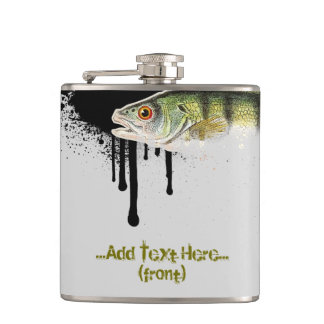 Large shades of Green Fish with bright orange tail Flask