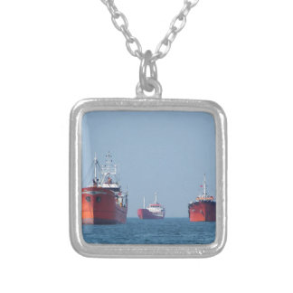 Large Ship Anchorage Silver Plated Necklace