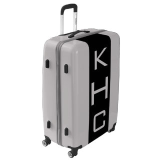LARGE Silver + Black Monogrammed Luggage