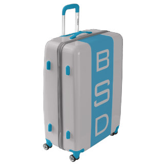 LARGE Silver + Blue Monogrammed Luggage
