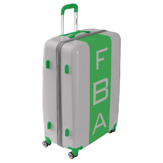 LARGE Silver + Green Monogrammed Luggage