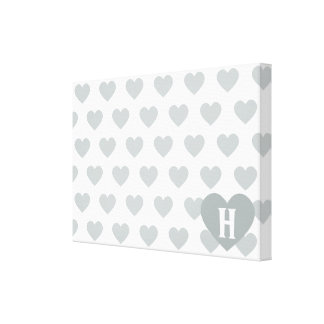 Large Silver Heart - Monogram Stretched Canvas Prints