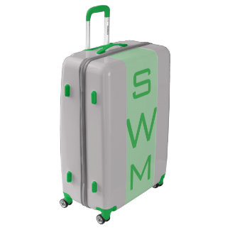 LARGE Silver + Light Green Monogrammed Luggage