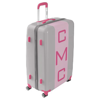 LARGE Silver + Light Pink Monogrammed Luggage