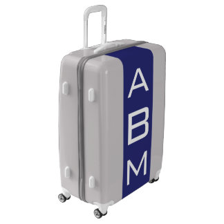 LARGE Silver + Navy Blue Monogrammed Luggage