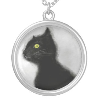 Large Silver Plated Necklace Black Cat Evil Master