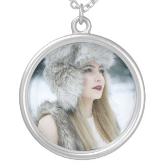 Large Silver Plated Round Necklace. Snow Queen. Silver Plated Necklace
