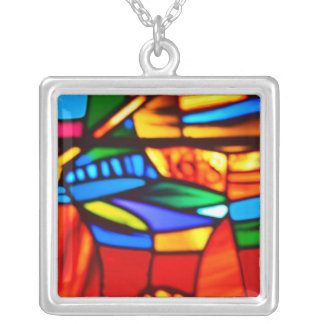 Large Silver Plated Stained Glass Square Necklace