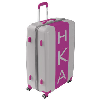 LARGE Silver + Purple Monogrammed Luggage