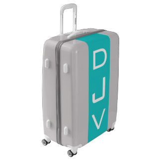 LARGE Silver + Turquoise Monogrammed Luggage