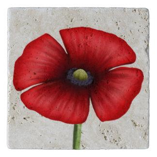 Large Single Stem Red Poppy Stone Trivet