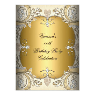 Large Size Birthday Party Sepia Coffee Gold 17 Cm X 22 Cm Invitation Card