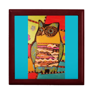 Large Square Gift Box with Bold Owl