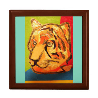Large Square Gift Box with Bold Tiger
