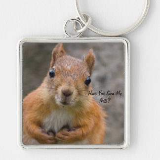 Large Square Squirrel Key Ring