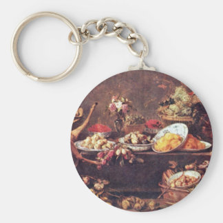 Large Still Life With A Lady And Parrot Basic Round Button Key Ring