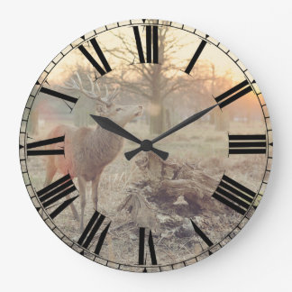 Large Sunrise Deer Clock w/ Roman Numerals