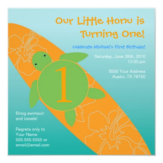 Large Surfing Sea Turtle Square Invitation