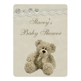 Large Teddy Bear Vintage Lace Baby Shower Card