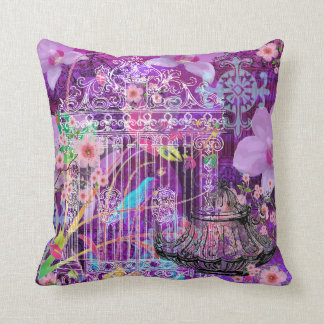 Large Throw Pillow, Violet, vintage bird cage Cushion