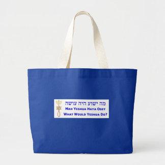Large Tote WWJD in Hebrew w/ Messianic seal Jumbo Tote Bag