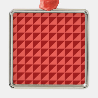 Large Triangles - Pastel Red and Firebrick Silver-Colored Square Decoration