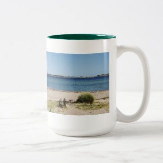 Large two-colored cup green beach and sea