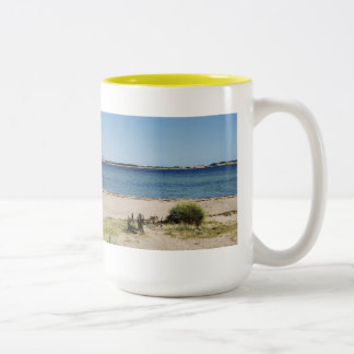 Large two-colored cup yellow beach and sea