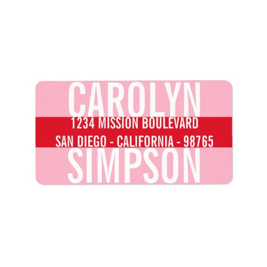 Large type bold red pink candy colour stripe address label