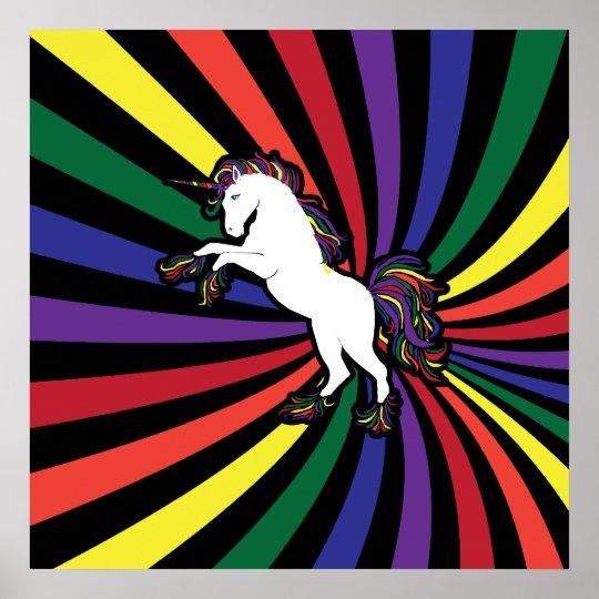 Large Unicorn Rainbow Poster