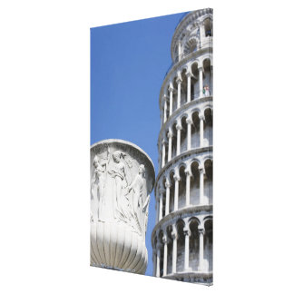 Large urn next to Leaning Tower of Pisa, Italy Canvas Print